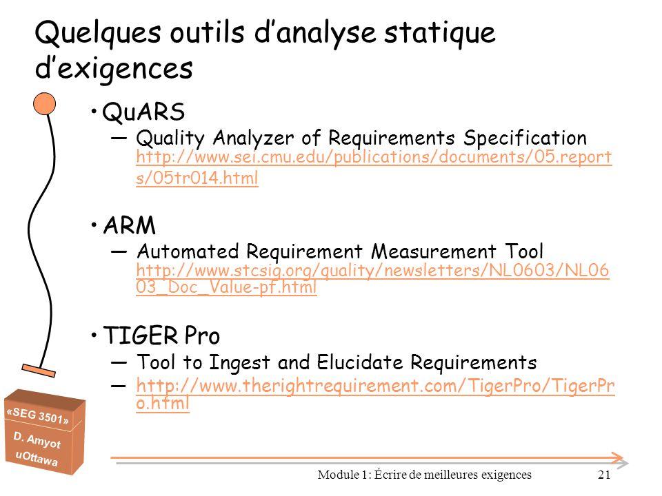 Quelques outils d'analyse statique d'exigences