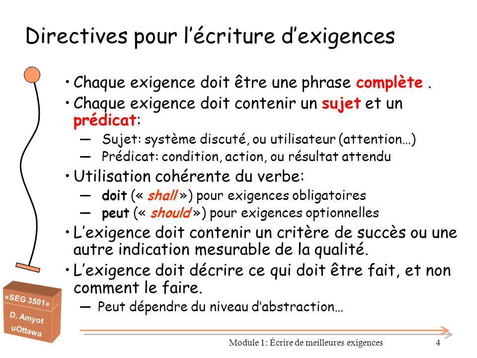 Directives pour l'écriture d'exigences