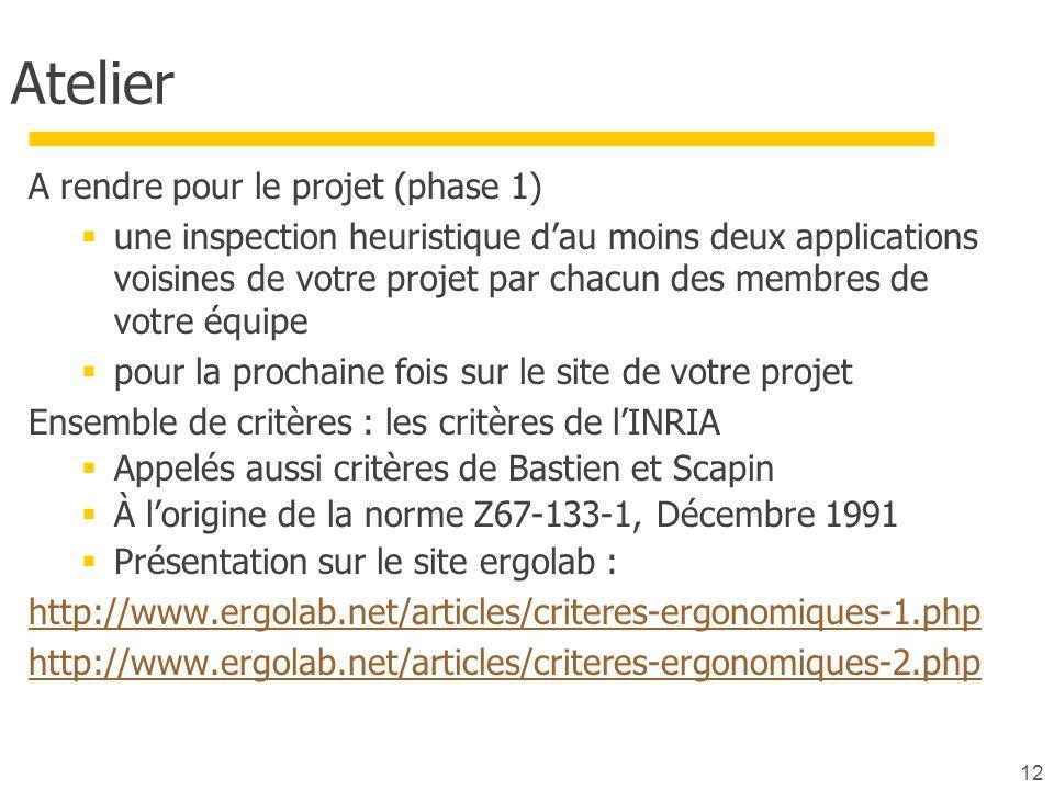 Atelier A rendre pour le projet (phase 1)