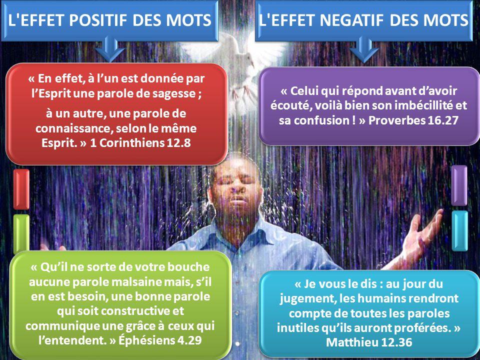 L EFFET POSITIF DES MOTS L EFFET NEGATIF DES MOTS