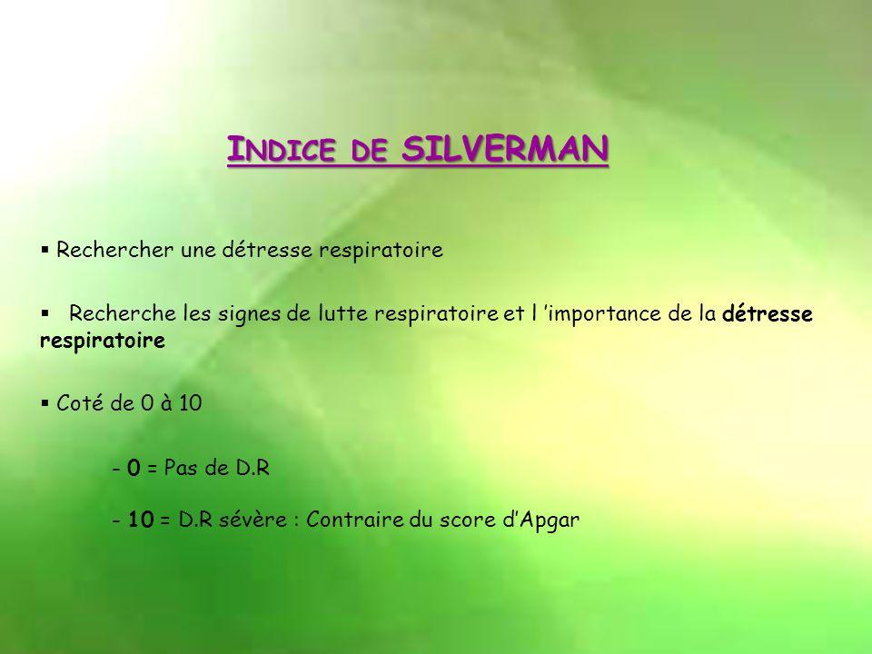 Indice de SILVERMAN Rechercher une détresse respiratoire