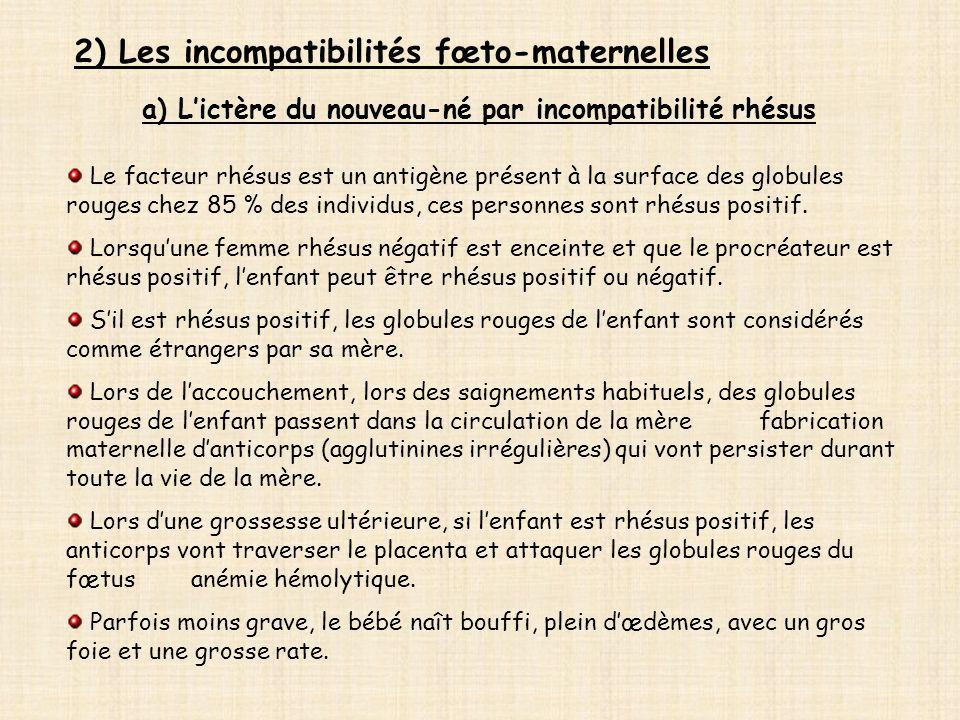 2) Les incompatibilités fœto-maternelles