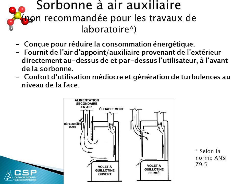 Sorbonne à air auxiliaire (non recommandée pour les travaux de laboratoire*)