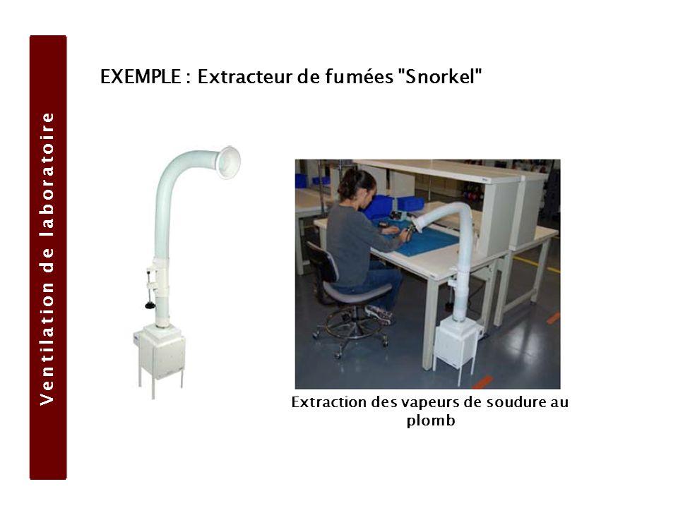 Ventilation de laboratoire Extraction des vapeurs de soudure au plomb