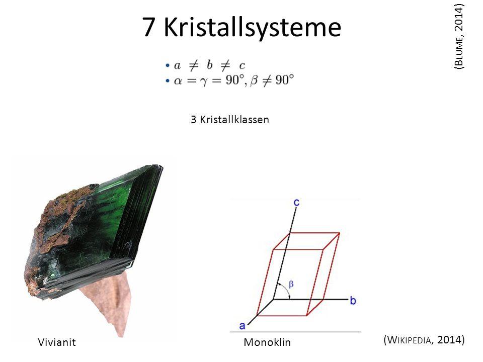 7 Kristallsysteme (Blume, 2014) 3 Kristallklassen Vivianit Monoklin