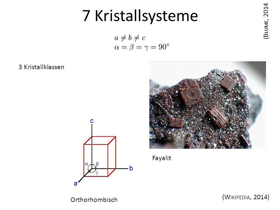 7 Kristallsysteme (Blume, 2014 3 Kristallklassen Fayalit