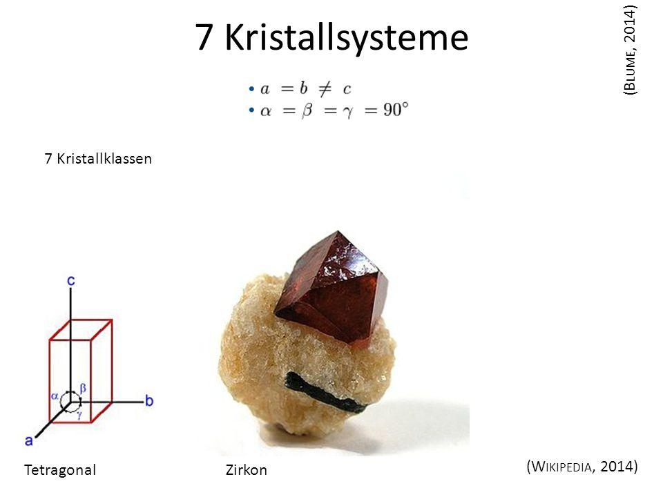 7 Kristallsysteme (Blume, 2014) 7 Kristallklassen Tetragonal Zirkon