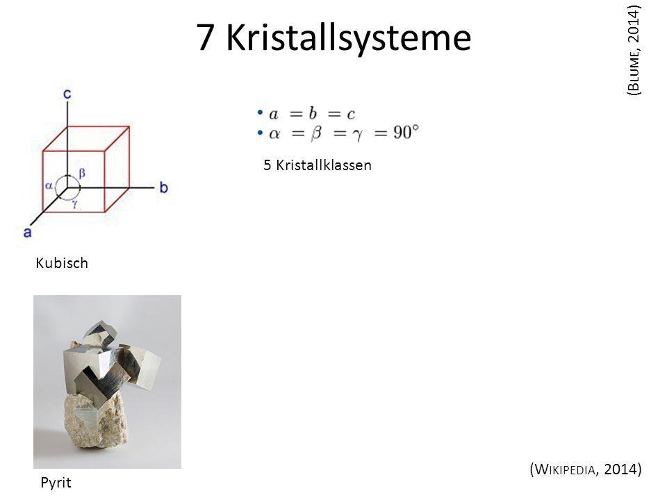 7 Kristallsysteme (Blume, 2014) 5 Kristallklassen Kubisch