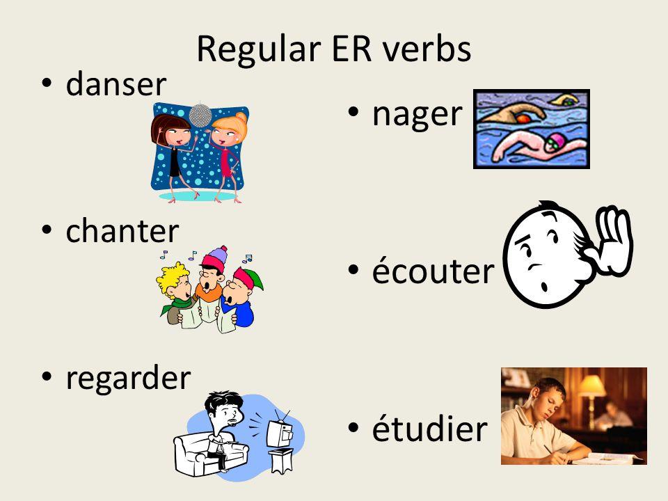 Regular ER verbs danser chanter regarder nager écouter étudier
