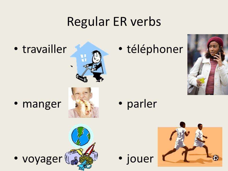 Regular ER verbs travailler manger voyager téléphoner parler jouer