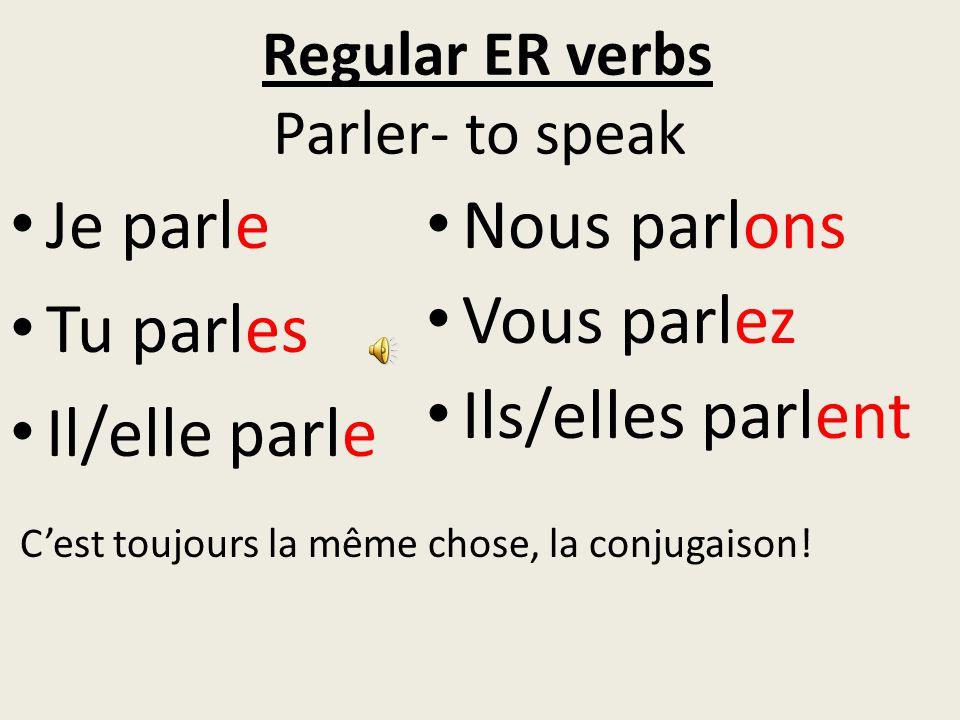 Regular ER verbs Parler- to speak