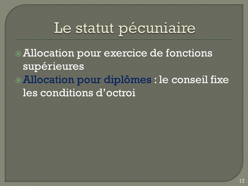 Le statut pécuniaire Allocation pour exercice de fonctions supérieures