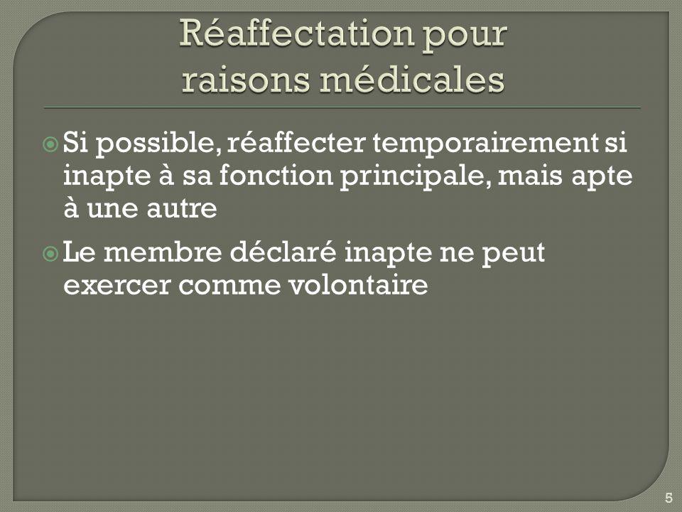 Réaffectation pour raisons médicales