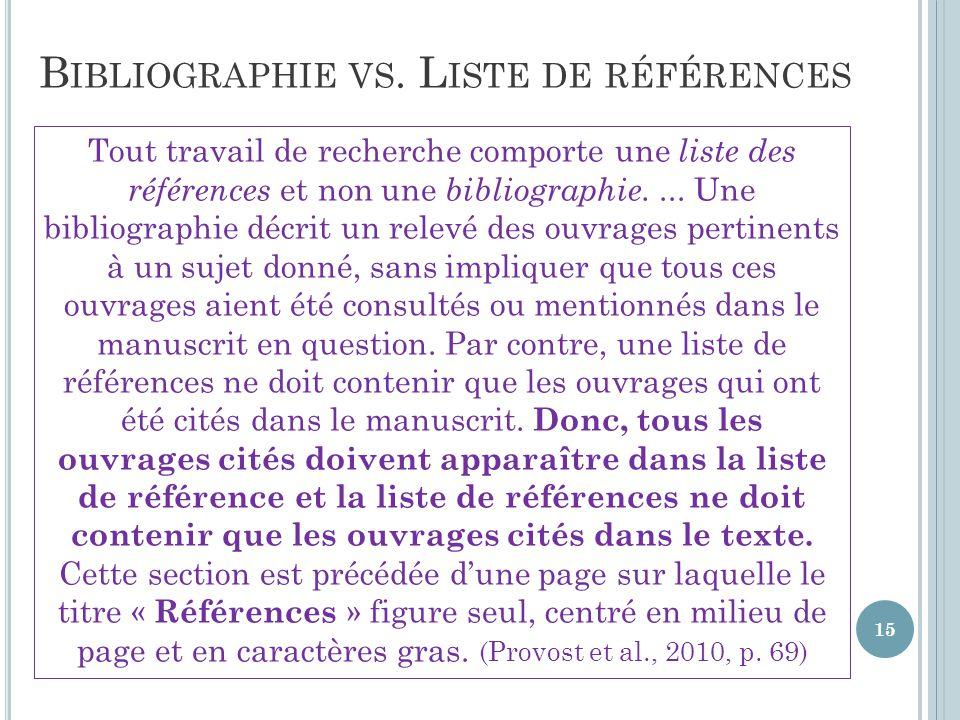 Bibliographie vs. Liste de références