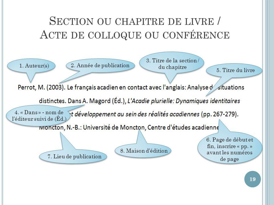 Section ou chapitre de livre / Acte de colloque ou conférence