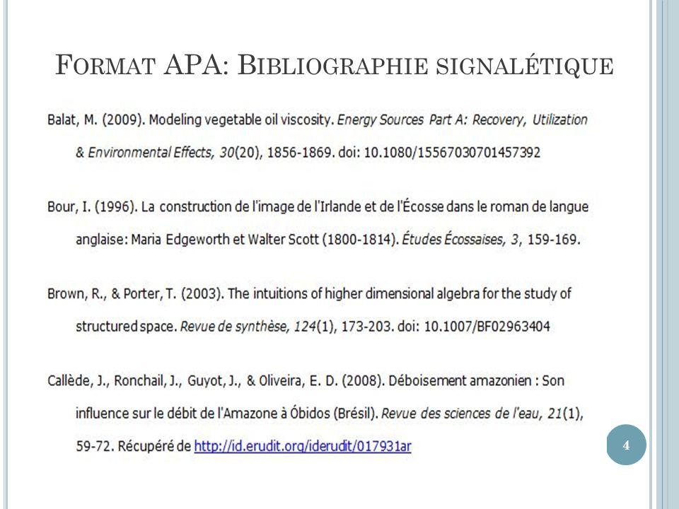 Format APA: Bibliographie signalétique