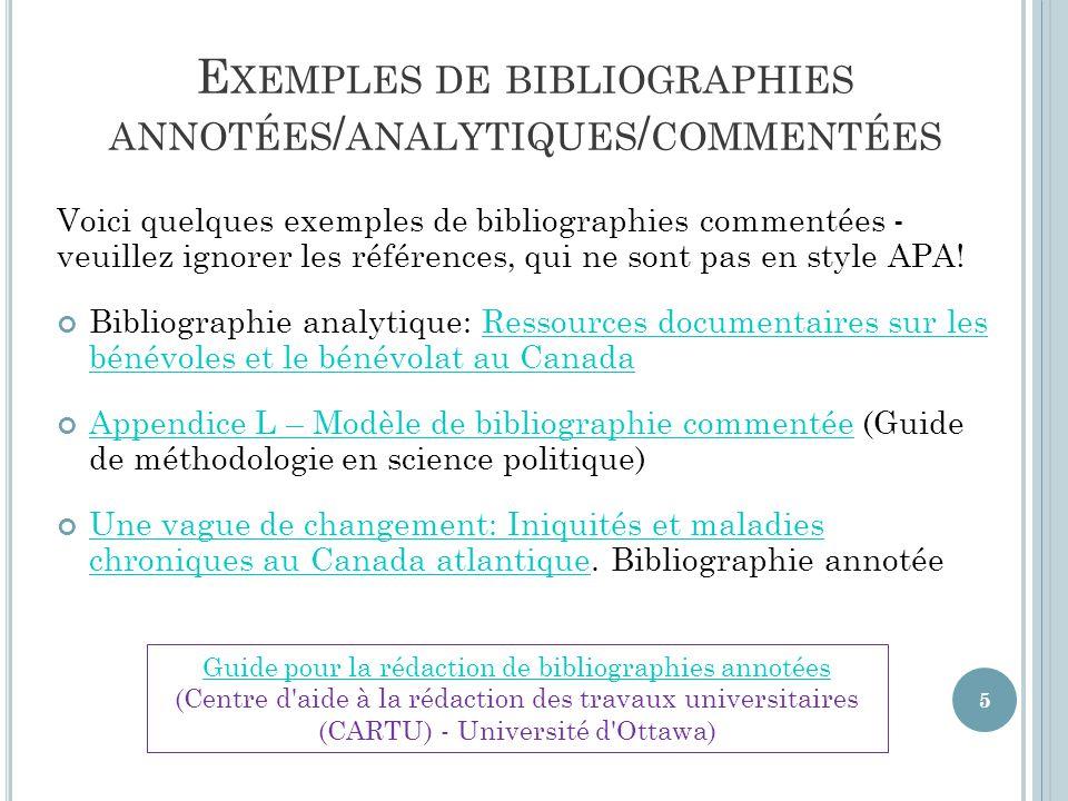 Exemples de bibliographies annotées/analytiques/commentées