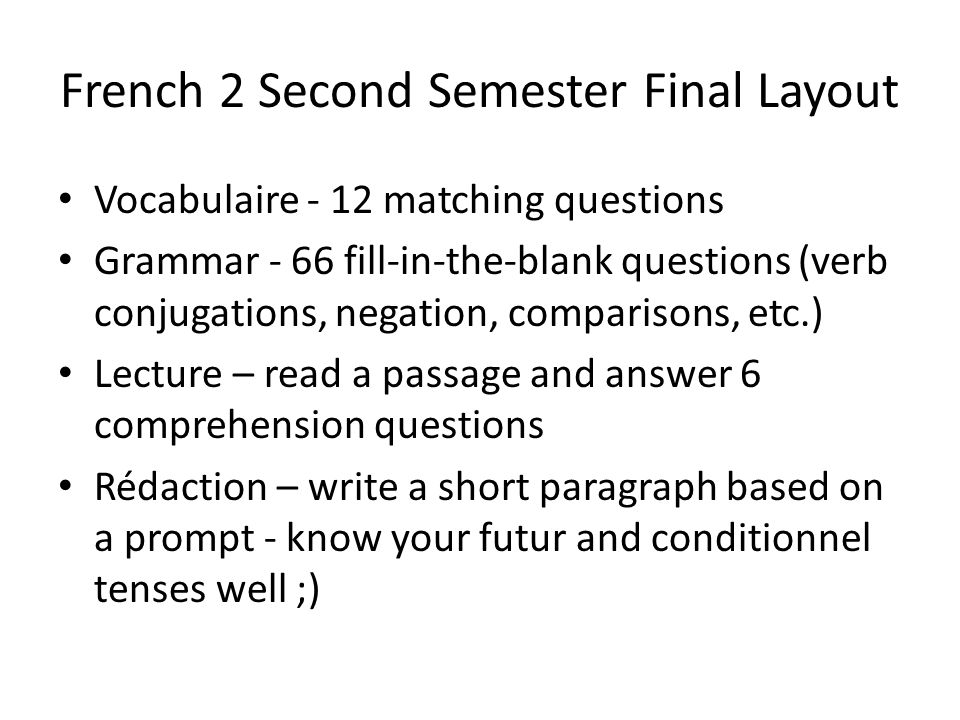 French 2 Second Semester Final Layout