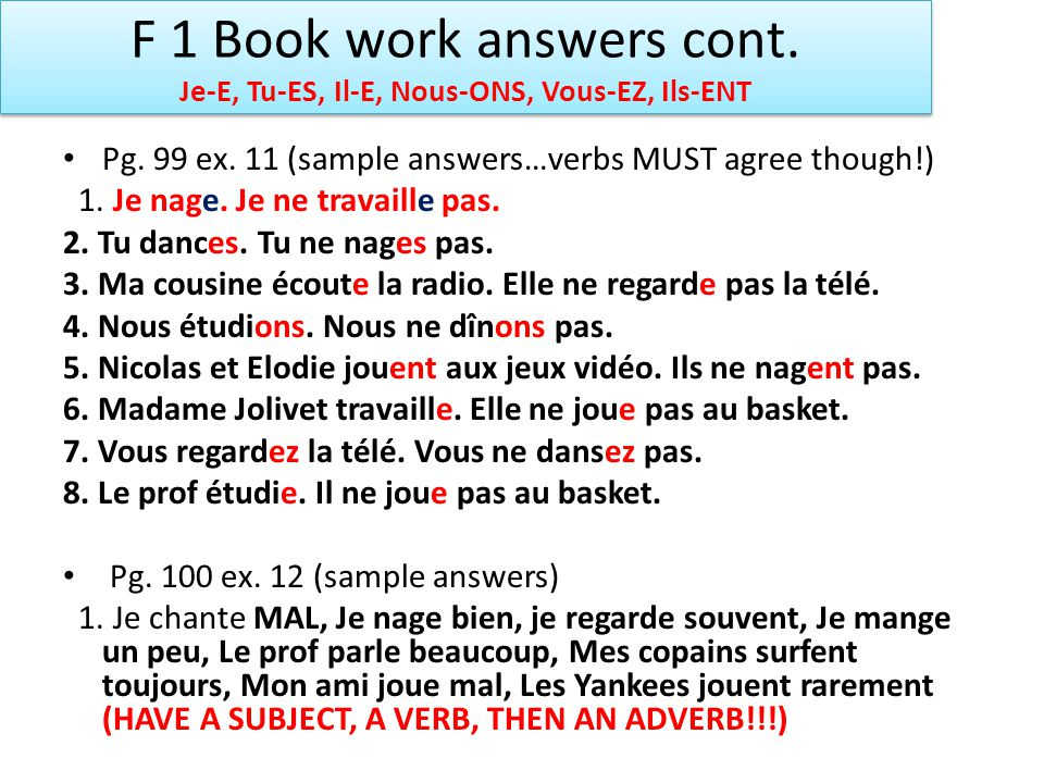 F 1 Book work answers cont