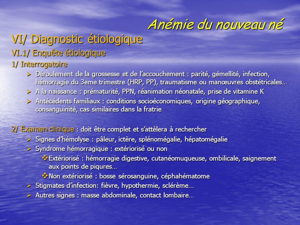 Anémie du nouveau né VI/ Diagnostic étiologique