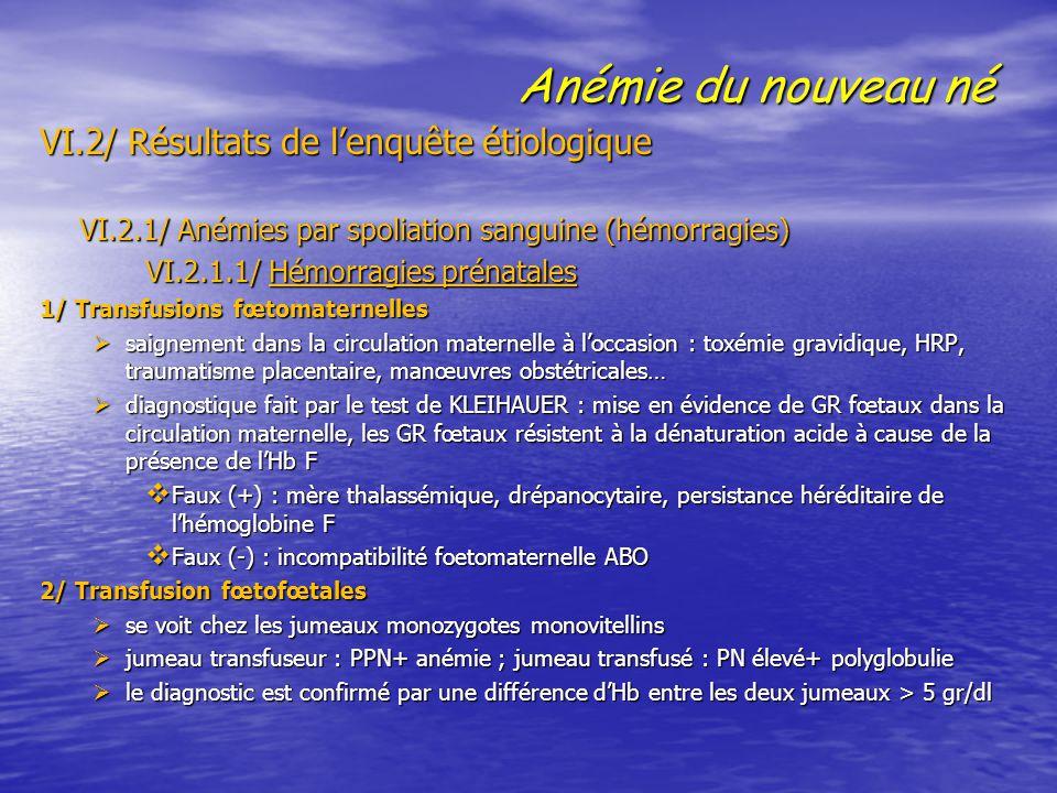 Anémie du nouveau né VI.2/ Résultats de l'enquête étiologique