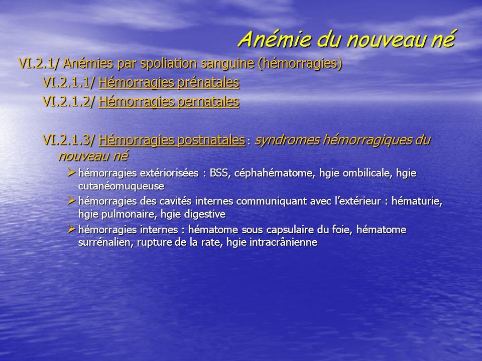 Anémie du nouveau né VI.2.1/ Anémies par spoliation sanguine (hémorragies) VI.2.1.1/ Hémorragies prénatales