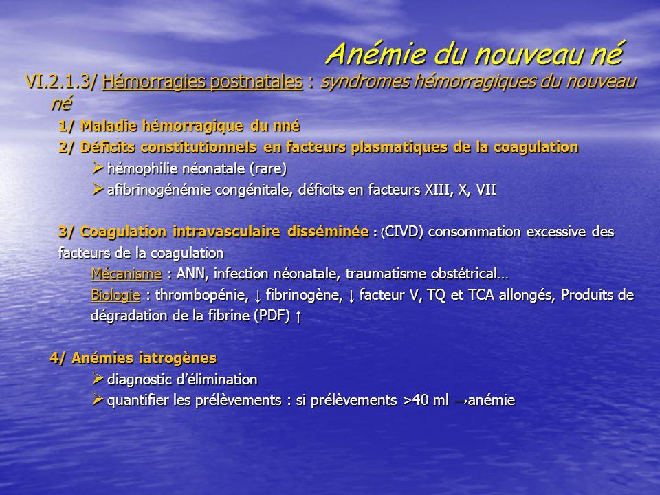 Anémie du nouveau né VI.2.1.3/ Hémorragies postnatales : syndromes hémorragiques du nouveau né. 1/ Maladie hémorragique du nné.