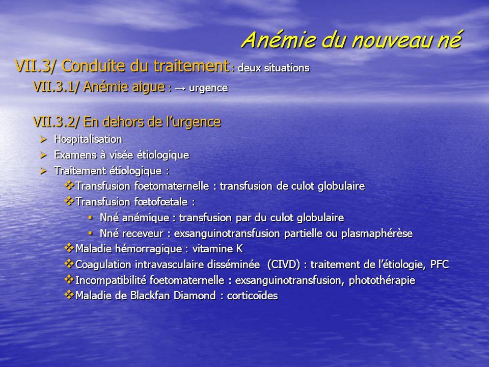 Anémie du nouveau né VII.3/ Conduite du traitement : deux situations