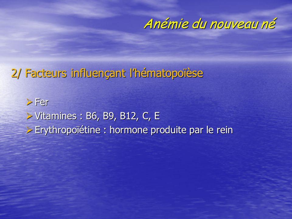 Anémie du nouveau né 2/ Facteurs influençant l'hématopoïèse Fer
