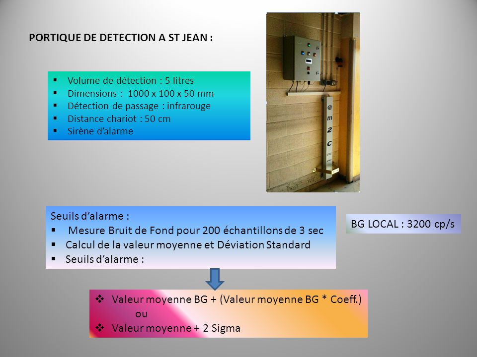 PORTIQUE DE DETECTION A ST JEAN :