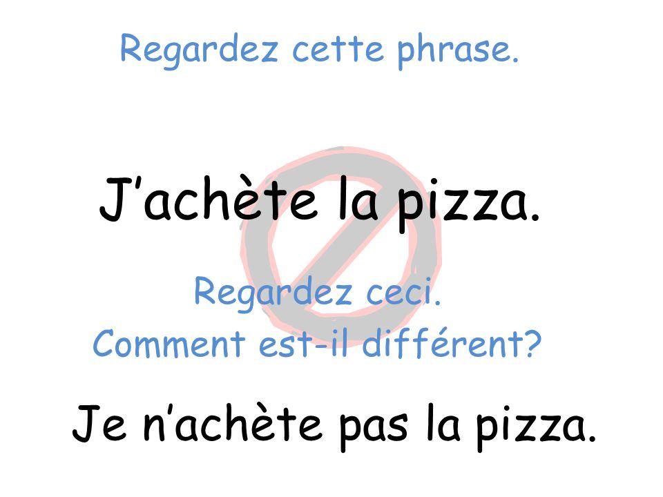 J'achète la pizza. Je n'achète pas la pizza. Regardez cette phrase.