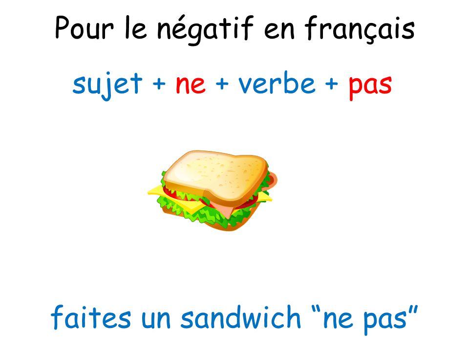 Pour le négatif en français
