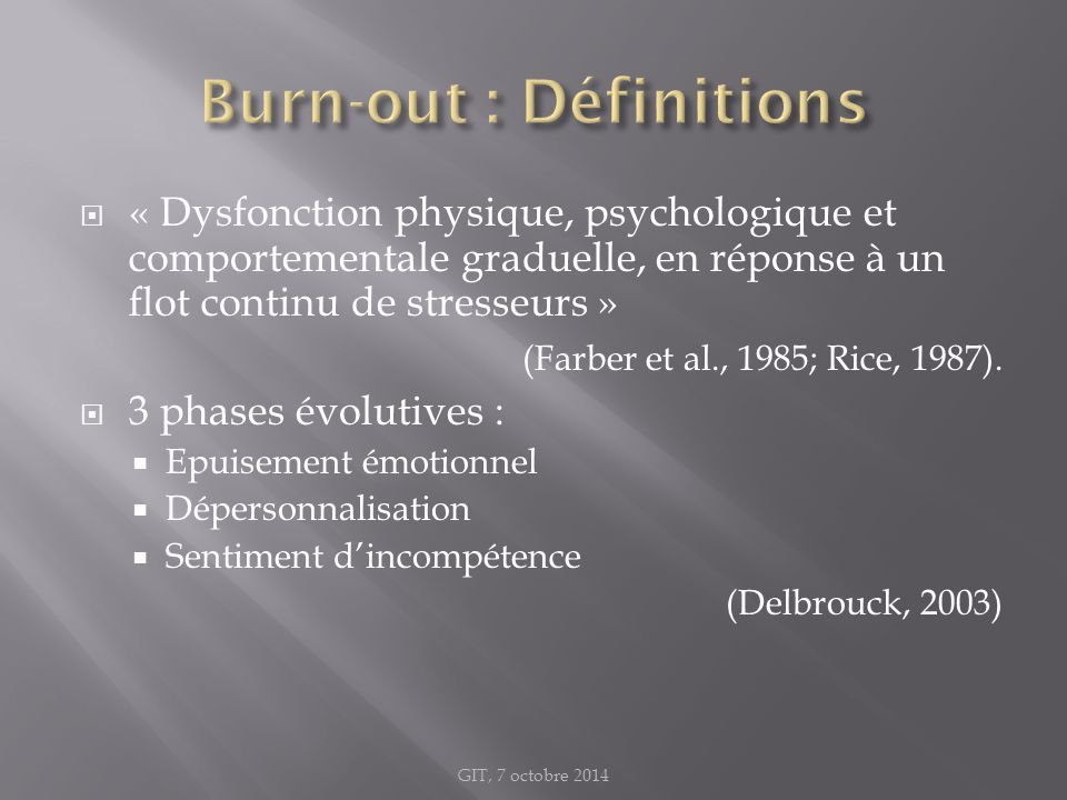 Burn-out : Définitions