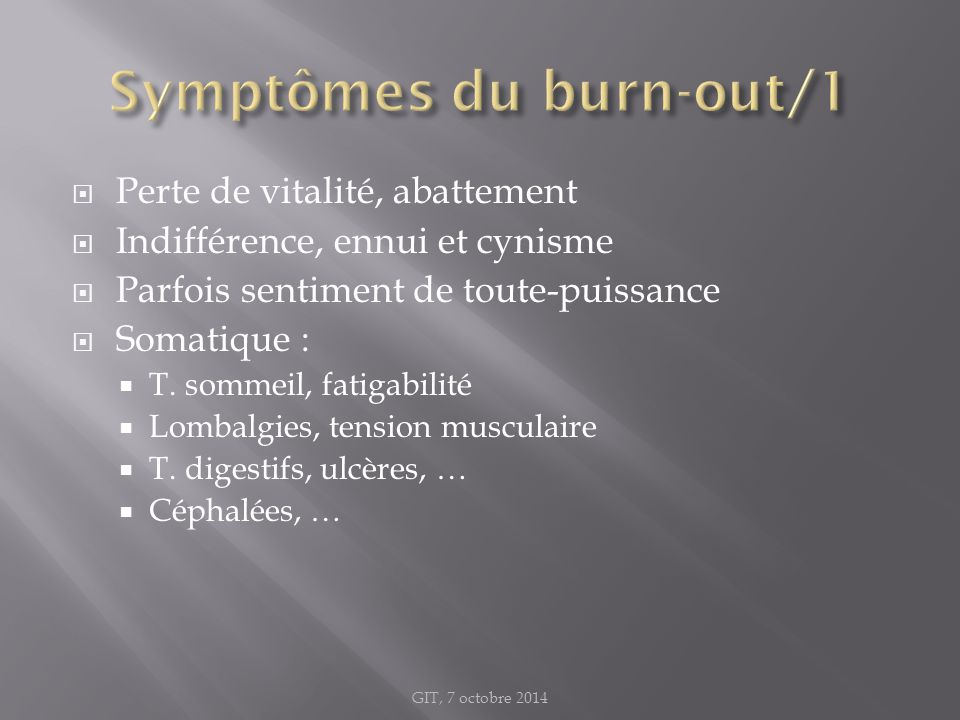 Symptômes du burn-out/1