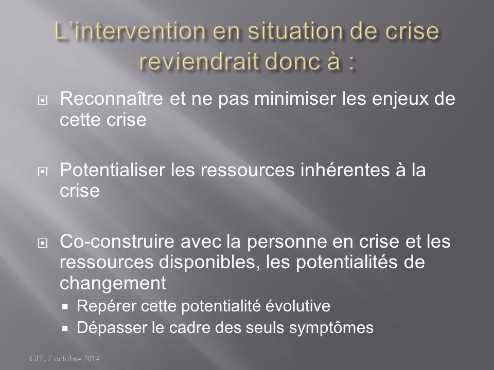 L'intervention en situation de crise reviendrait donc à :