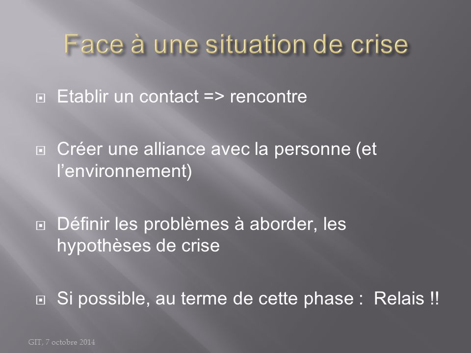 Face à une situation de crise