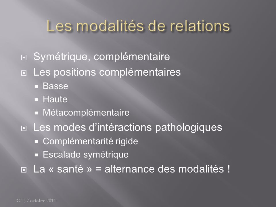Les modalités de relations