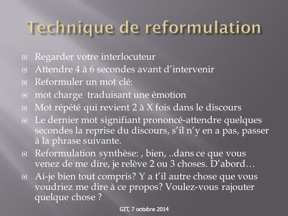 Technique de reformulation