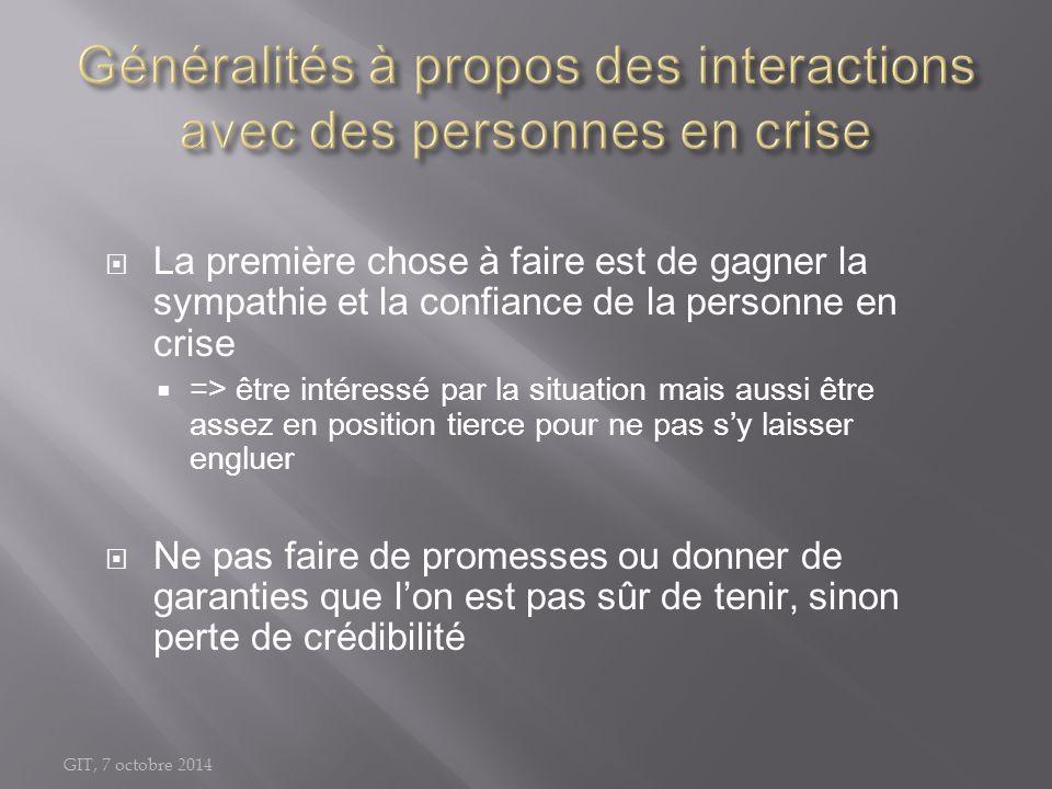Généralités à propos des interactions avec des personnes en crise