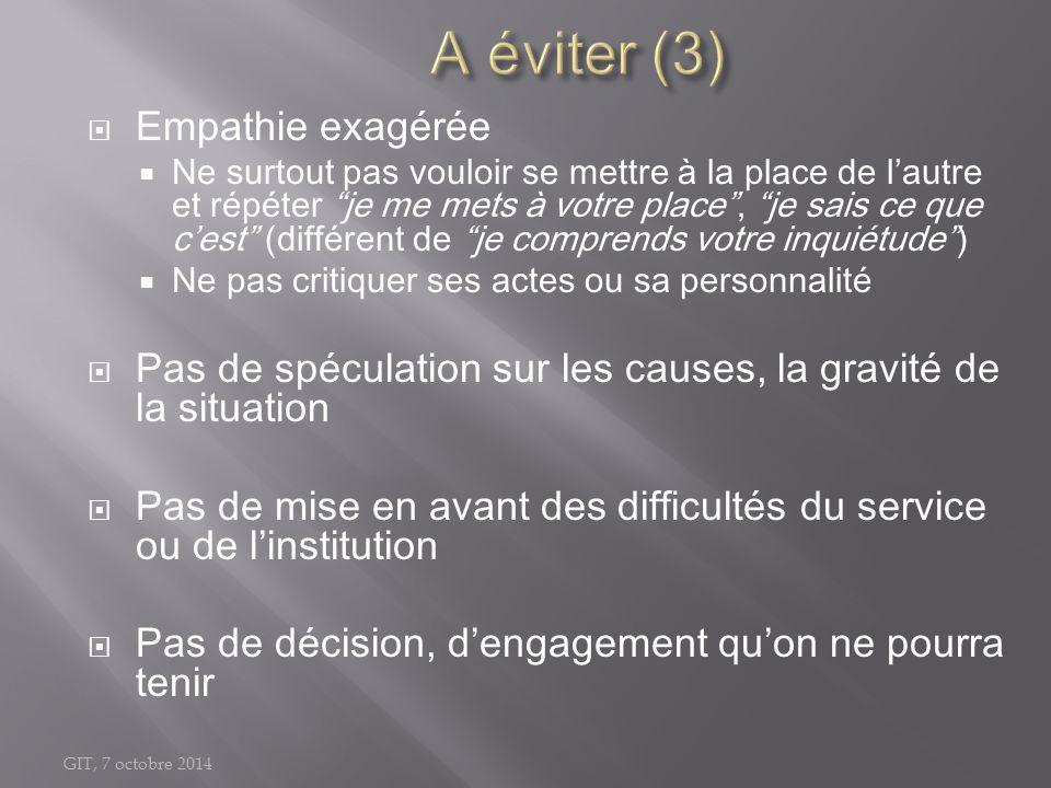 A éviter (3) Empathie exagérée