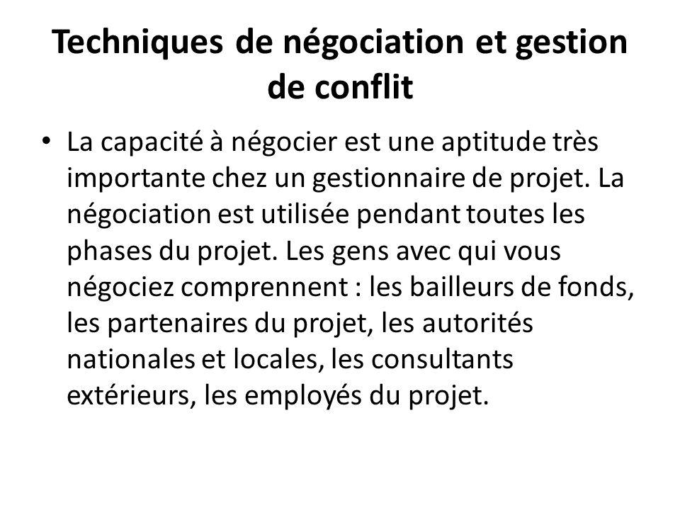 Techniques de négociation et gestion de conflit