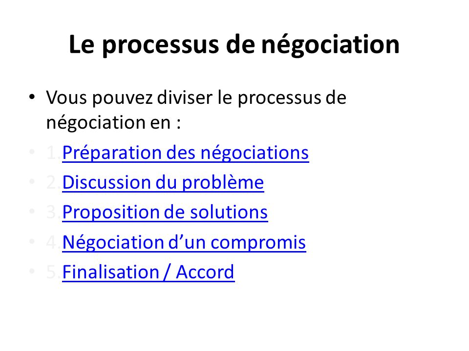 Le processus de négociation