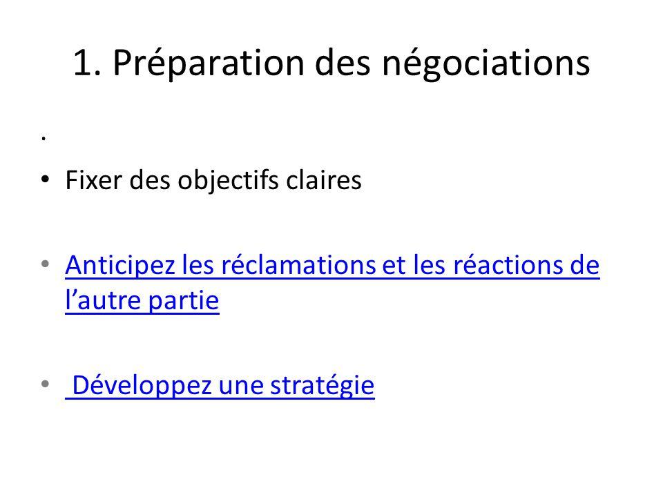 1. Préparation des négociations