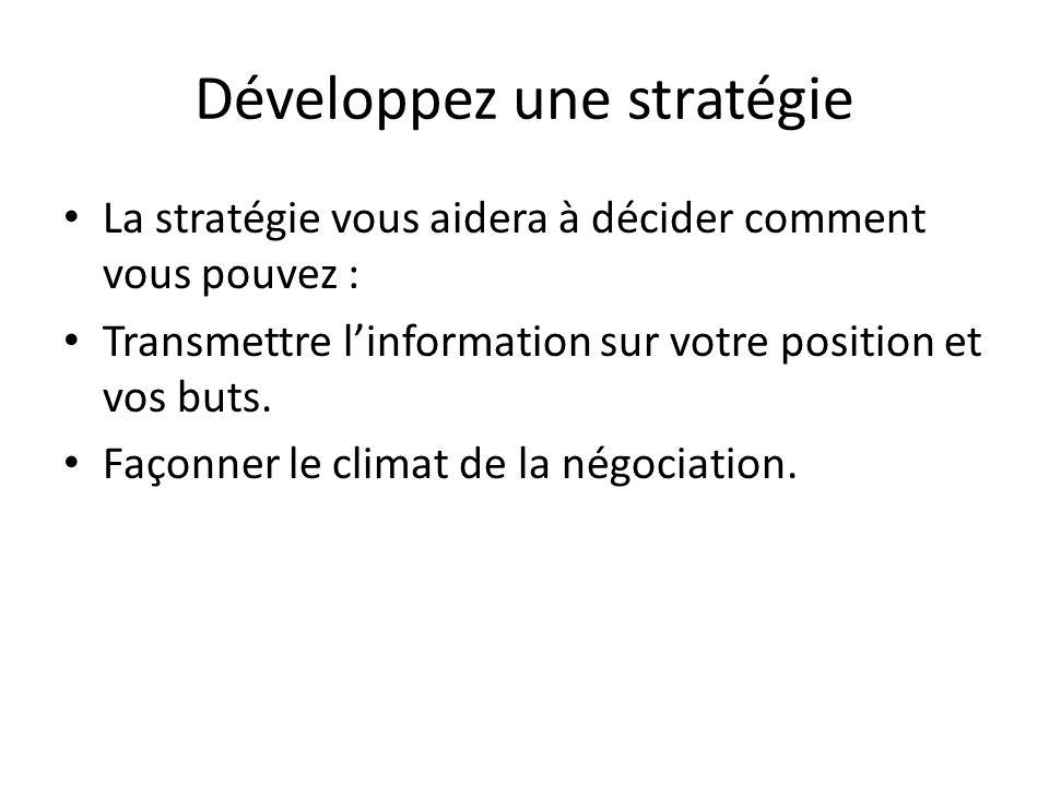 Développez une stratégie