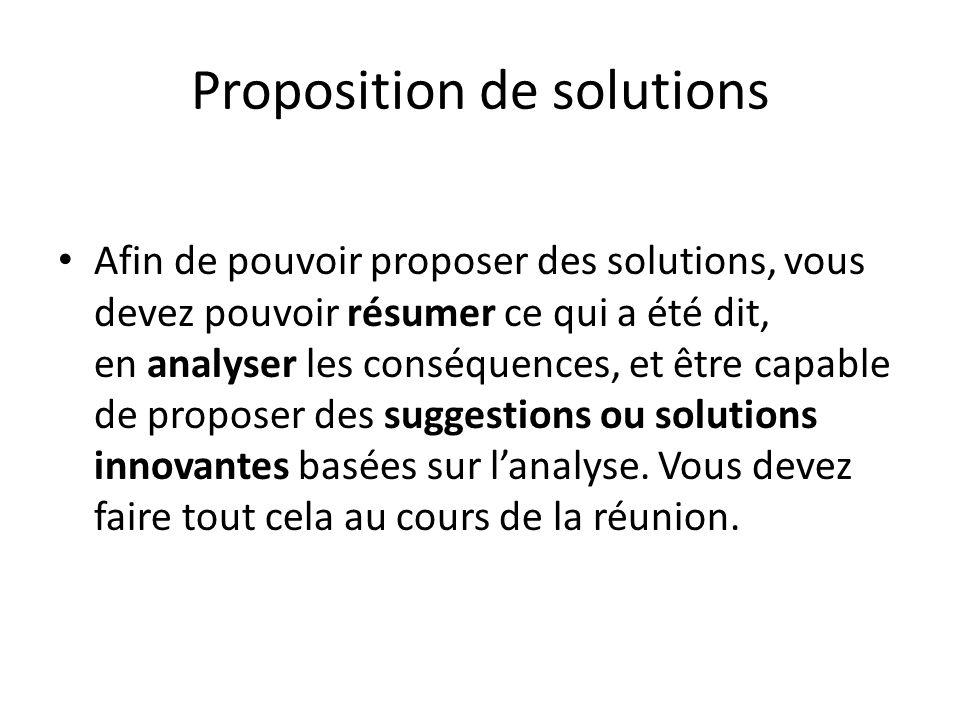 Proposition de solutions