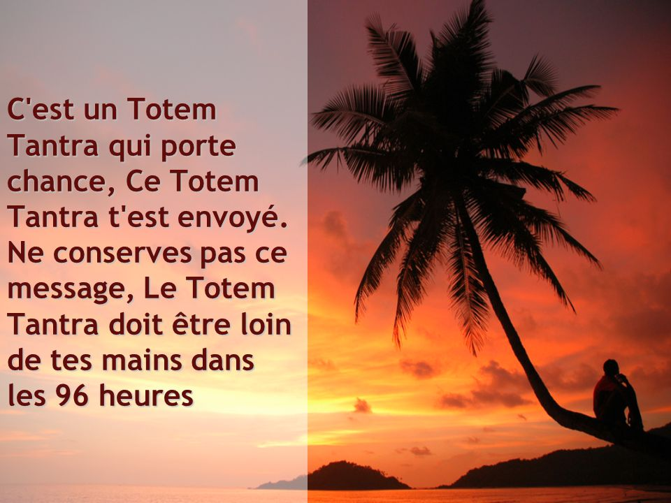 C est un Totem Tantra qui porte chance, Ce Totem Tantra t est envoyé