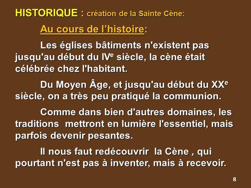 HISTORIQUE : création de la Sainte Cène:. Au cours de l'histoire: