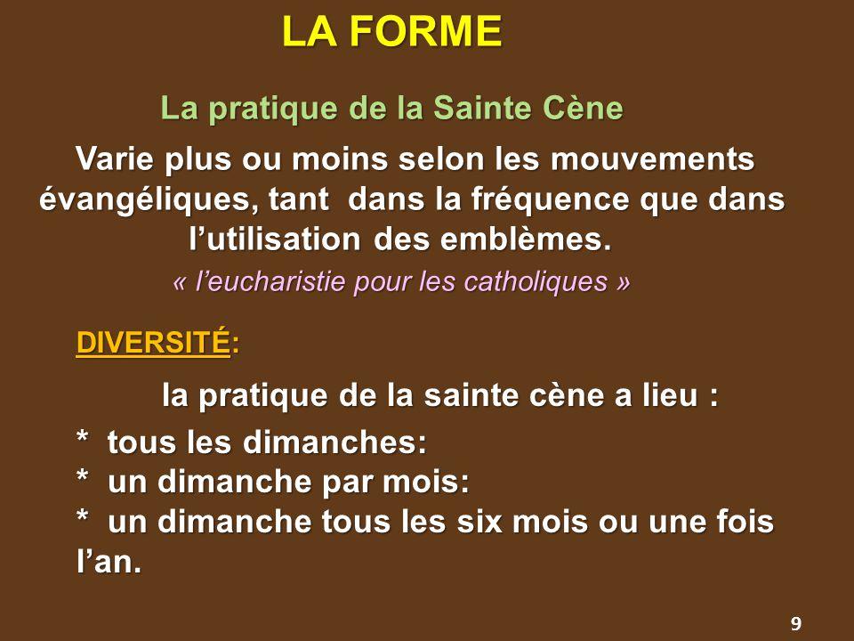LA FORME La pratique de la Sainte Cène.