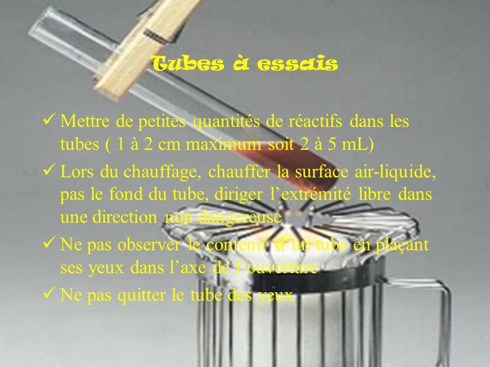 Tubes à essais Mettre de petites quantités de réactifs dans les tubes ( 1 à 2 cm maximum soit 2 à 5 mL)