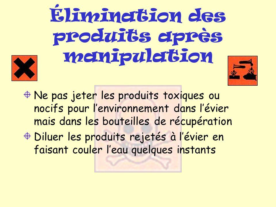 Élimination des produits après manipulation